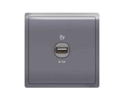 Schneider 1 Gang 2.1A USB Charger Socket-Lavender Silver- E8231USB_LS