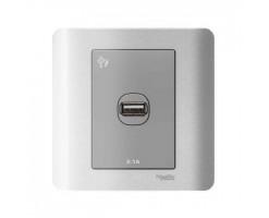 Schneider 1 Gang 2.1A USB Charger Socket -  Silver Satin-E8431USB_SA