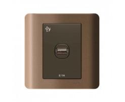 Schneider 1 Gang 2.1A USB Charger Socket -  Silver Bronze-E8431USB_SZ