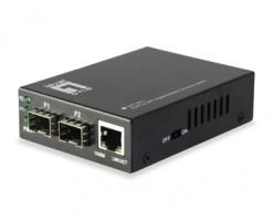 Level One  RJ45 to SFP Gigabit Media Converter Switch, 2 x SFP, 1 x RJ45 - GVT-2011