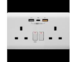 M2K Double PDQC USB Wall socket (Glossy finish) - PD202AP5-W