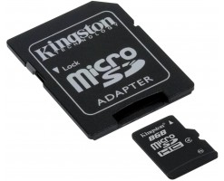 KingSton microSDHC card with SD adapter, Black-SDC4/8GB