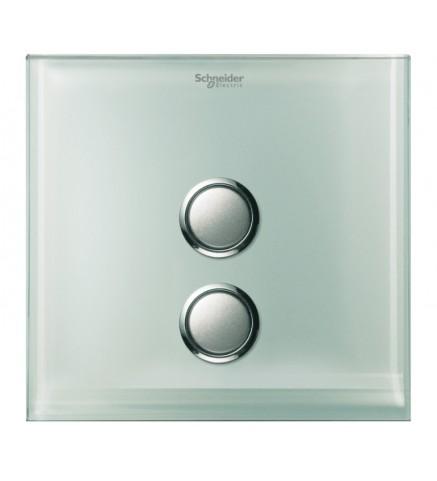 Schneider 2 Gang Push Switch Cover - Crystal Glass - UC22SW/P XGL