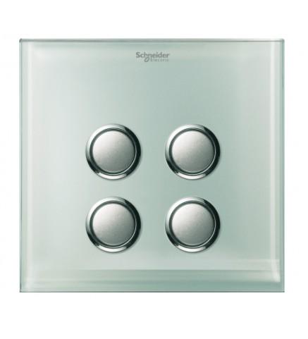 Schneider 4 Gang Push Switch Cover - Crystal Glass - UC24SW/P XGL