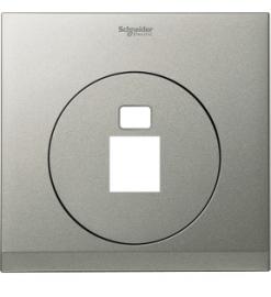 Schneider 1 Gang Tel and Data Socket COVER PLATE, Brush Silver - UDC31RJ XBS