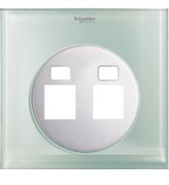 Schneider 2 Gang Tel and Data Socket COVER PLATE, Crystal Glass- UDC32TD XGL