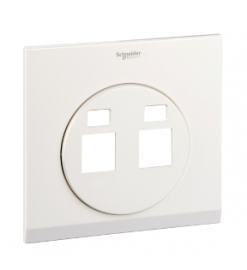 Schneider 2 Gang Tel and Data Socket COVER PLATE, PEARL WHITE- UDC32TD XPW